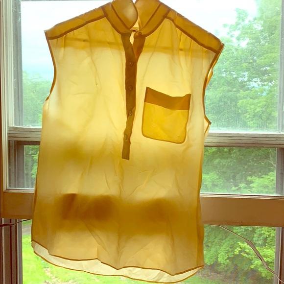 Jcrew cream yellow blouse, half front button down